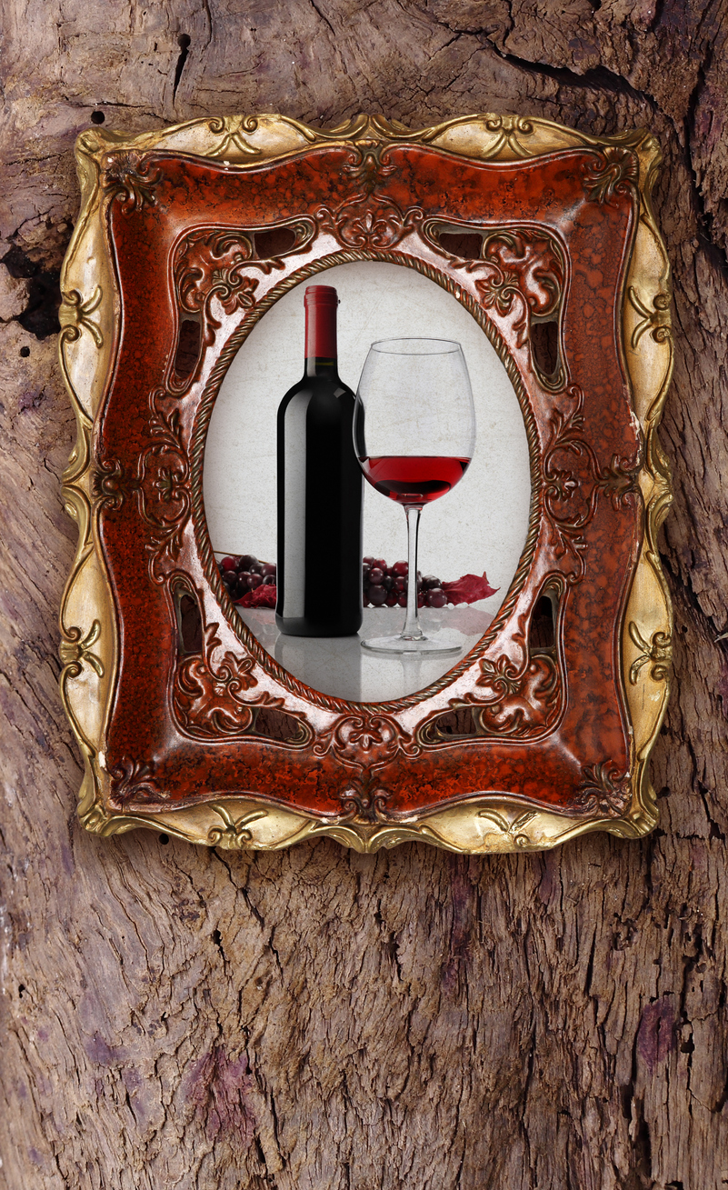 Ornate Gold Frame and Wine Bottle